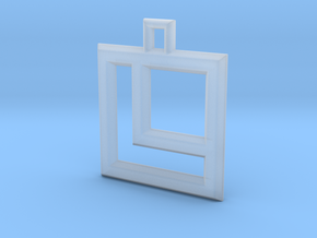 ABC Pendant - L Type - Wire - 24x24x3 mm in Smooth Fine Detail Plastic