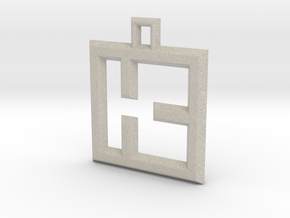 ABC Pendant - K Type - Wire - 24x24x3 mm in Natural Sandstone