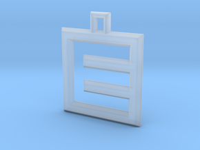 ABC Pendant - E Type - Wire - 24x24x3 mm in Smooth Fine Detail Plastic