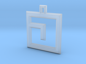 ABC Pendant - J Type - Wire - 24x24x3 mm in Smooth Fine Detail Plastic
