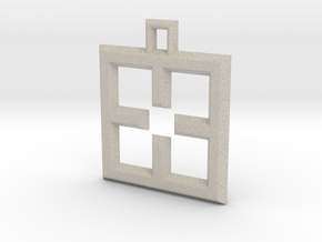 ABC Pendant - X Type - Wire - 24x24x3 mm in Natural Sandstone