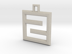 ABC Pendant - Z/2 Type - Wire - 24x24x3 mm in Natural Sandstone
