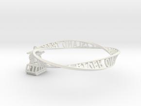 Roosevelt Island Moebius Bracelet with Tram Charm in White Natural Versatile Plastic