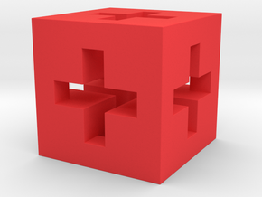 3D Swiss Cube  in Red Processed Versatile Plastic