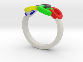 Olympic Ring-sz19 in Full Color Sandstone