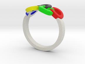 Olympic Ring-sz20 in Full Color Sandstone