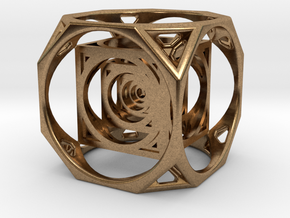 3D Cube paperweight  in Natural Brass