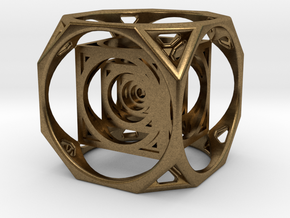 3D Cube paperweight  in Natural Bronze