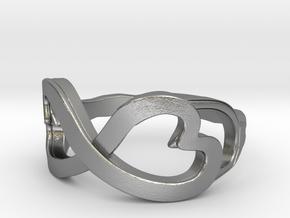 Double Heart Swirl Ring in Raw Silver