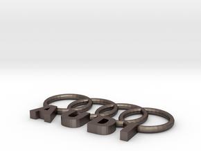 Audi Key chain  in Polished Bronzed Silver Steel