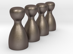 4x Game Pieces [STEEL] in Polished Bronzed Silver Steel