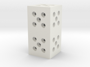Building Block 1x2 in White Natural Versatile Plastic