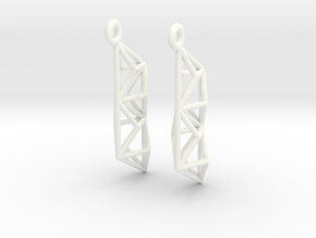 Earrings Construct in White Processed Versatile Plastic
