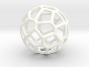 Organic Sphere Pendant in White Processed Versatile Plastic