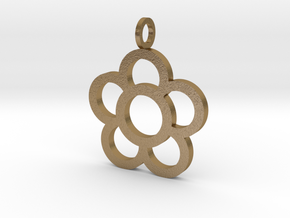 Flowers Pendant in Polished Gold Steel