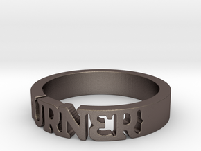 BlakOpal 'Burner' Cutout Band - Size 11 in Polished Bronzed Silver Steel