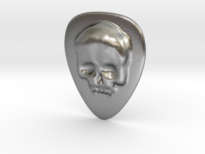 Skull Guitar Pick in Natural Silver