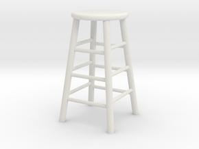 1:24 Wood Stool 1 (Not Full Size) in White Natural Versatile Plastic