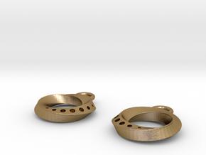Mobius Earings in Polished Gold Steel