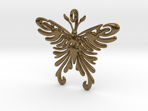 Pendant Tribal Pattern Butterfly in Natural Bronze