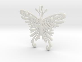Pendant Tribal Pattern Butterfly in White Natural Versatile Plastic