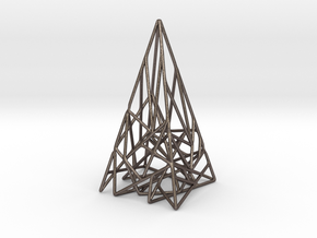 Triangulated Pyramid Pendant in Polished Bronzed Silver Steel