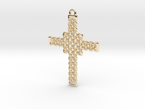 Celtic Knot Cross Pendant in 14K Yellow Gold: Small