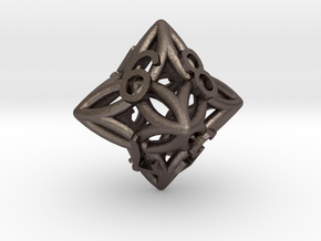 arc die dice d8 in Polished Bronzed Silver Steel