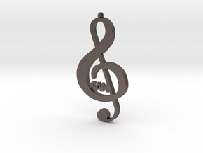 Treble Clef Music Symbol in Polished Bronzed Silver Steel