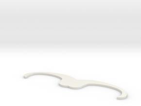 Fake mustache in White Natural Versatile Plastic