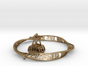 Roosevelt Island Mobius Bracelet with Tram Charm in Polished Gold Steel