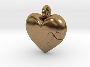 Wounded Heart Pendant in Natural Brass
