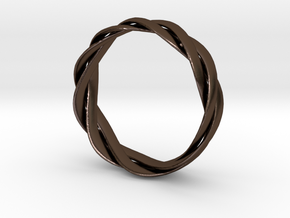 Braided ring 19.2mm in Polished Bronze Steel