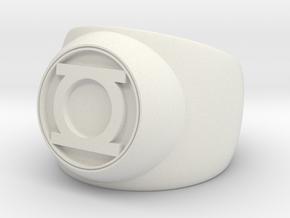 Green Lantern Ring- Size 11 in White Natural Versatile Plastic