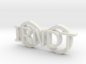 "IRNDT Logo Key Fob 3/4"" height in White Natural Versatile Plastic"