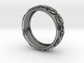 Antique pattern band in Polished Silver