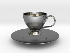 1/6 scale Tea Cup & saucer in Fine Detail Polished Silver