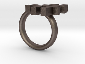 Don't Tell Emoticon Ring :# in Polished Bronzed Silver Steel