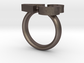 Love Emoticon Ring  in Polished Bronzed Silver Steel