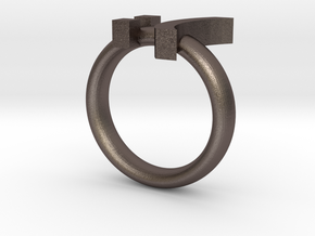 Sad Emoticon Ring version 2 :( in Polished Bronzed Silver Steel