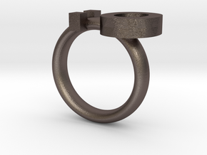 Surprised Emoticon Ring version 2 :O in Polished Bronzed Silver Steel