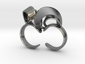 Ribbon Double Ring 7/8 in Polished Silver