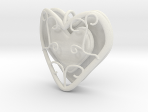 Heart Container Pendant in White Natural Versatile Plastic
