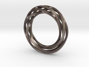 Twist Bracelet (M) in Polished Bronzed Silver Steel
