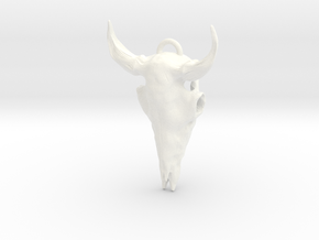 Bison Skull Pendant in White Strong & Flexible Polished