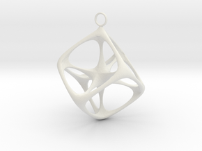 Soft Tesseract Pendant in White Natural Versatile Plastic