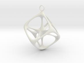 Soft Tesseract Pendant in White Natural Versatile Plastic