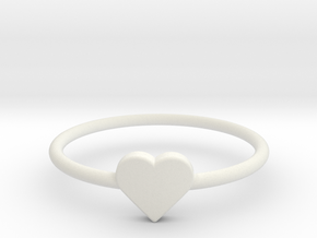 Knuckle Ring with heart, subtle and chic. in White Natural Versatile Plastic