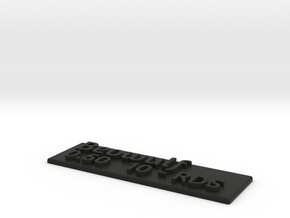 """Beowulf 0.50 10-RDS"" label plate in Black Natural Versatile Plastic"