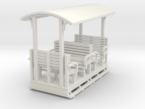 O9 2 compartment open coach with roof  in White Natural Versatile Plastic